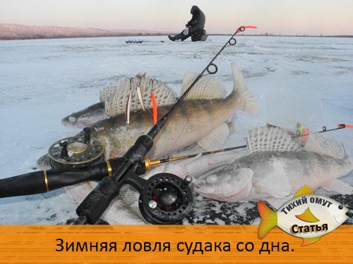 Зимняя ловля судака со дна.