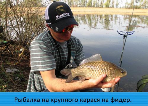Рыбалка на крупного карася на фидер на платном водоёме.