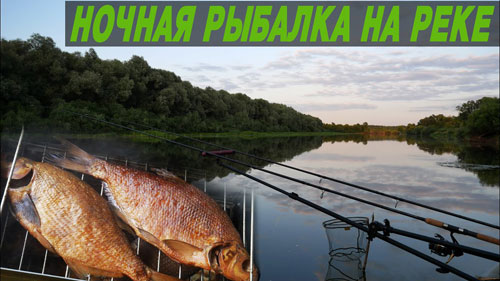 Ночная рыбалка на реке. Ловля на фидер.
