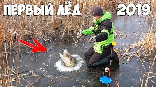 Первый лед и щука на жерлицы со льда!