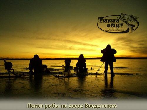 Поиск рыбы на озере Введенском